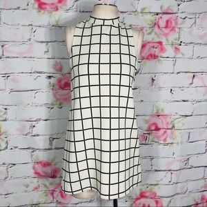 Cooperative grid patterned high neck mini dress